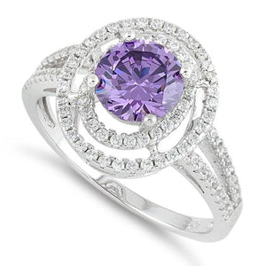 Sterling Silver Double Halo Round Amethyst CZ Ring