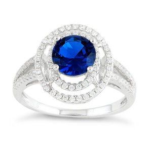 Sterling Silver Double Halo Round Blue Sapphire CZ Ring