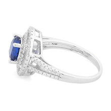 Load image into Gallery viewer, Sterling Silver Double Halo Round Blue Sapphire CZ Ring