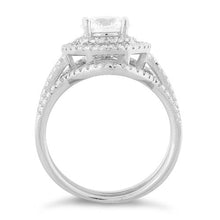 Load image into Gallery viewer, Sterling Silver Double Halo Round CZ Set Ring