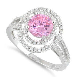 Sterling Silver Double Halo Round Pink CZ Ring