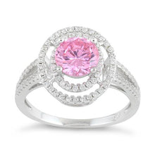 Load image into Gallery viewer, Sterling Silver Double Halo Round Pink CZ Ring