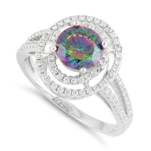 Load image into Gallery viewer, Sterling Silver Double Halo Round Rainbow Topaz CZ Ring