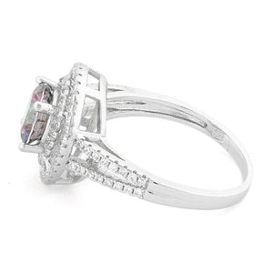 Sterling Silver Double Halo Round Rainbow Topaz CZ Ring