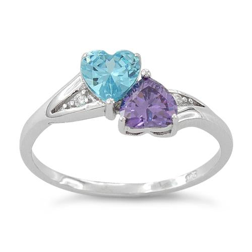 Sterling Silver Double Heart Amethyst & Blue Topaz CZ Ring