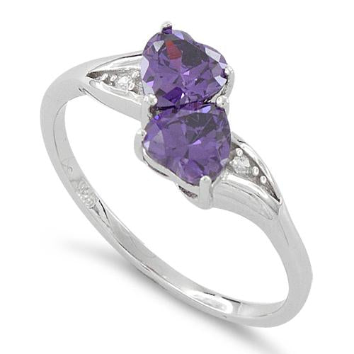 Sterling Silver Double Heart Amethyst CZ Ring