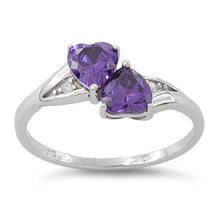 Load image into Gallery viewer, Sterling Silver Double Heart Amethyst CZ Ring