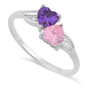 Sterling Silver Double Heart Amethyst & Pink CZ Ring