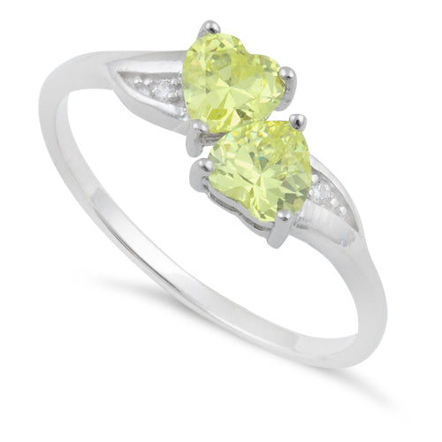 Sterling Silver Double Heart Apple Green CZ Ring