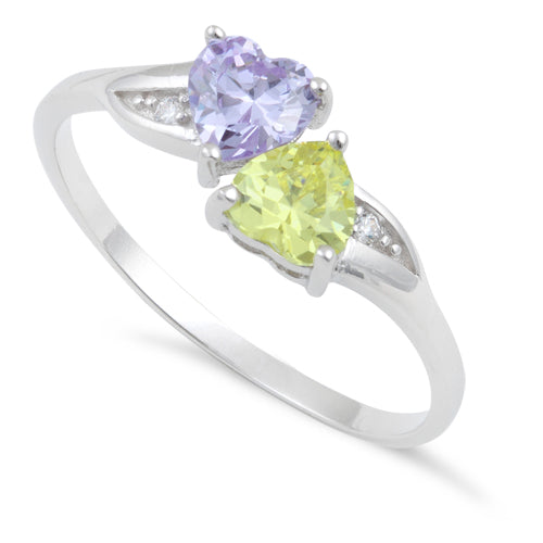 Sterling Silver Double Heart Apple Green & Lavender CZ Ring