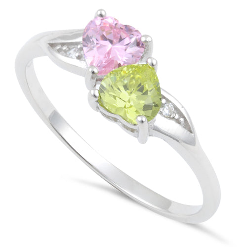 Sterling Silver Double Heart Apple Green & Pink CZ Ring