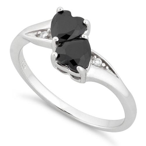 Sterling Silver Double Heart Black CZ Ring