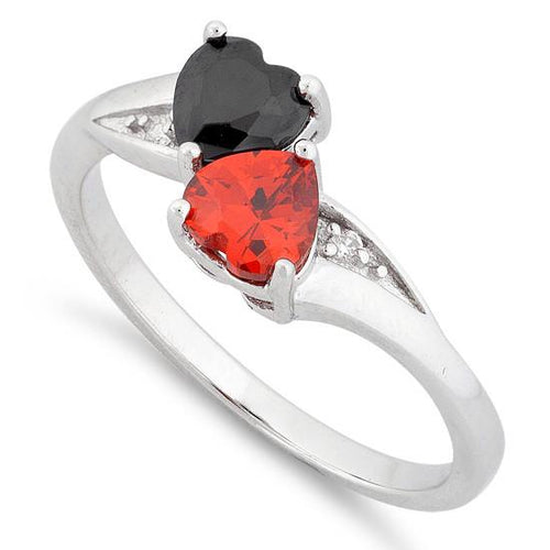 Sterling Silver Double Heart Black & Garnet Topaz CZ Ring