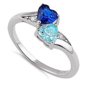Sterling Silver Double Heart Blue Spinel & Blue Topaz CZ Ring