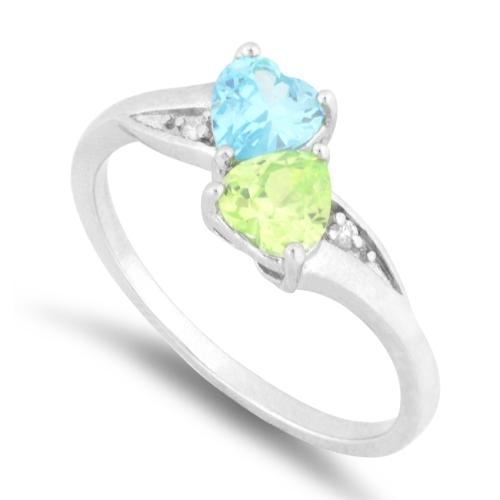 Sterling Silver Double Heart Blue Topaz & Apple Green CZ Ring