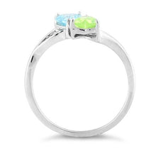 Load image into Gallery viewer, Sterling Silver Double Heart Blue Topaz & Apple Green CZ Ring