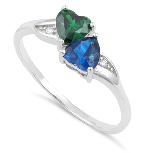 Sterling Silver Double Heart Dark Green & Blue Spinel Topaz CZ Ring