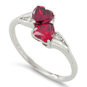 Sterling Silver Double Heart Dark Pink Topaz CZ Ring