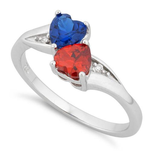 Sterling Silver Double Heart Garnet & Blue Spinnel CZ Ring