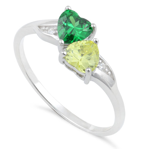 Sterling Silver Double Heart Green & Apple Green CZ Ring