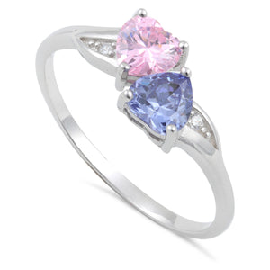 Sterling Silver Double Heart Light Tanzanite & Pink CZ Ring