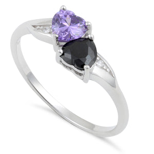 Sterling Silver Double Heart Light Violet Blue & Black CZ Ring