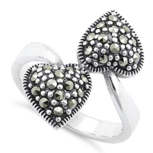 Sterling Silver Double Heart Marcasite Ring