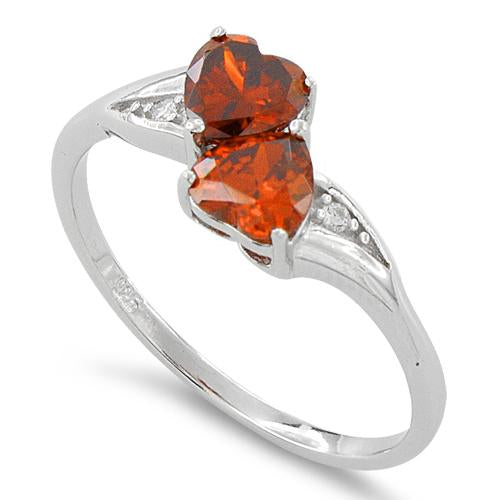 Sterling Silver Double Heart Fire Orange CZ Ring
