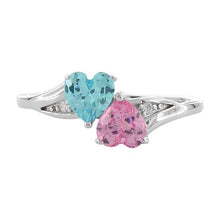Load image into Gallery viewer, Sterling Silver Double Heart Pink & Blue Topaz CZ Ring
