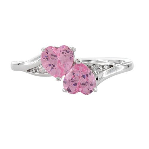 Sterling Silver Double Heart Pink CZ Ring