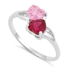 Load image into Gallery viewer, Sterling Silver Double Heart Pink & Dark Pink CZ Ring