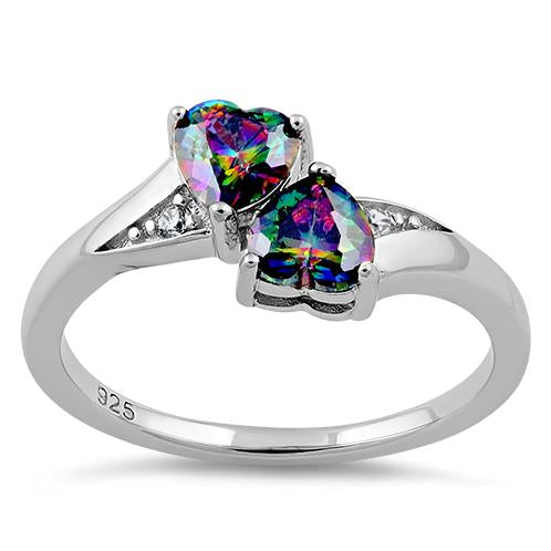 Sterling Silver Double Heart Rainbow Topaz CZ Ring