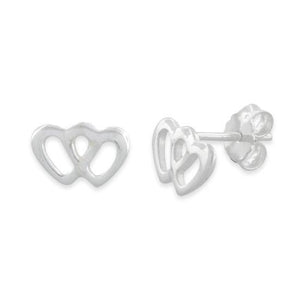 Sterling Silver Double Heart Stud Earrings