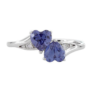Sterling Silver Double Heart Tanzanite CZ Ring