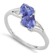 Load image into Gallery viewer, Sterling Silver Double Heart Tanzanite CZ Ring