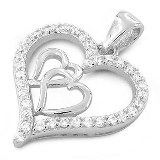 Sterling Silver Double Inside Heart CZ Pendant