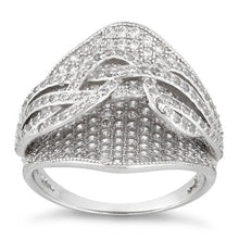 Load image into Gallery viewer, Sterling Silver Double Layer Ribbon CZ Ring