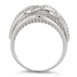 Sterling Silver Double Layer Ribbon CZ Ring