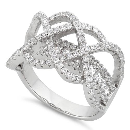 Sterling Silver Double Layer Swirl CZ Ring