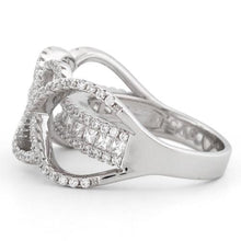 Load image into Gallery viewer, Sterling Silver Double Layer Swirl CZ Ring