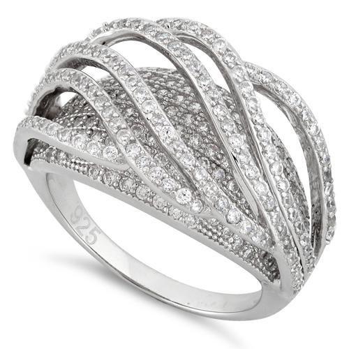 Sterling Silver Double Layer Wavy CZ Ring