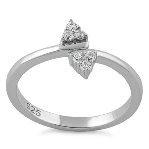 Sterling Silver Double Leaf CZ Ring