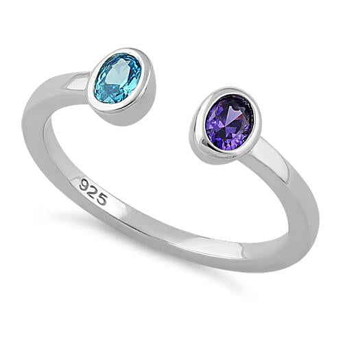 Sterling Silver Double Oval Cut Amethyst & Blue Topaz CZ Ring