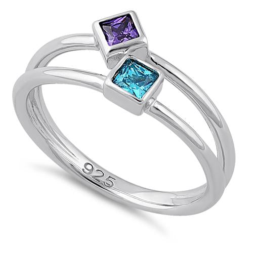 Sterling Silver Double Princess Cut Amethyst & Blue Topaz CZ Ring