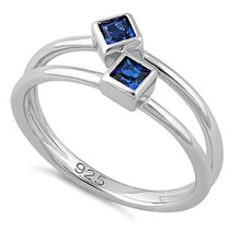 Load image into Gallery viewer, Sterling Silver Double Princess Cut Blue Spinel CZ Ring