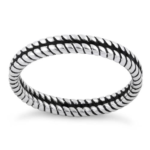 Sterling Silver Double Rope Stackable Ring