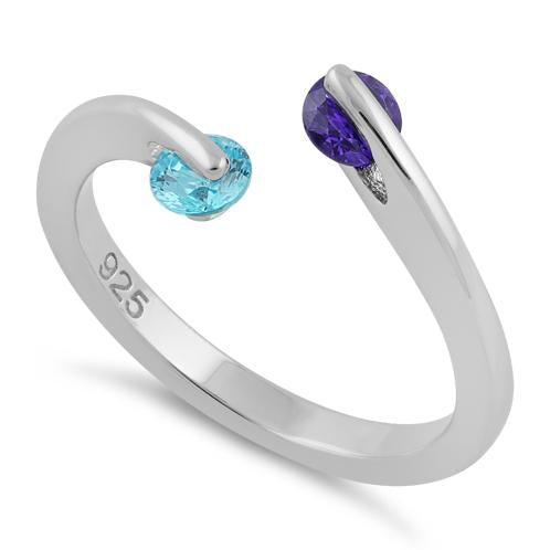 Sterling Silver Double Round Amethyst and Aqua Blue CZ Ring
