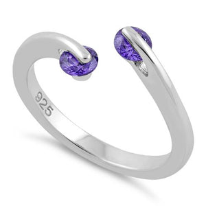 Sterling Silver Double Round Amethyst CZ Ring