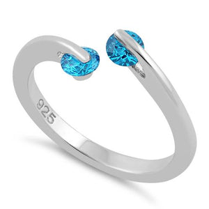 Sterling Silver Double Round Aqua Blue CZ Ring