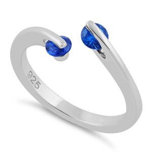 Sterling Silver Double Round Blue Spinel CZ Ring